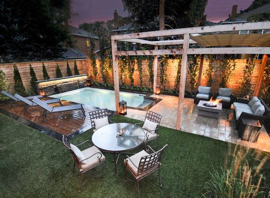 small space-- seating, fire pit, pool, deck -add hot tub in this area