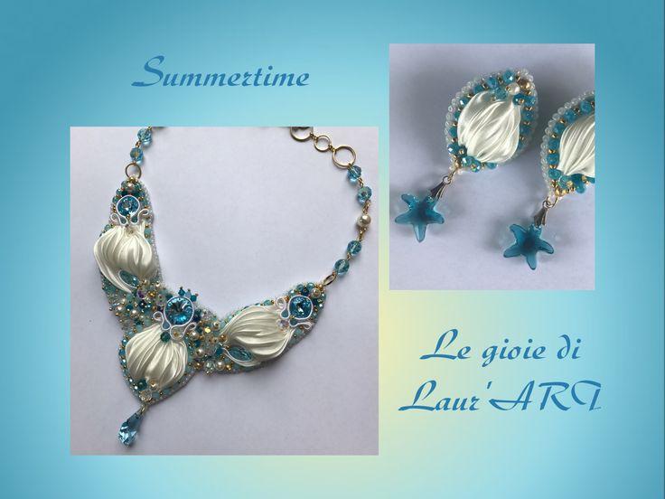 "Necklace ""Paradise beach"" shibori silk"
