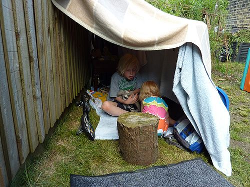 Making a den. Mine was at the bottom of the garden, and made of old bits of wood that would often collapse on us!