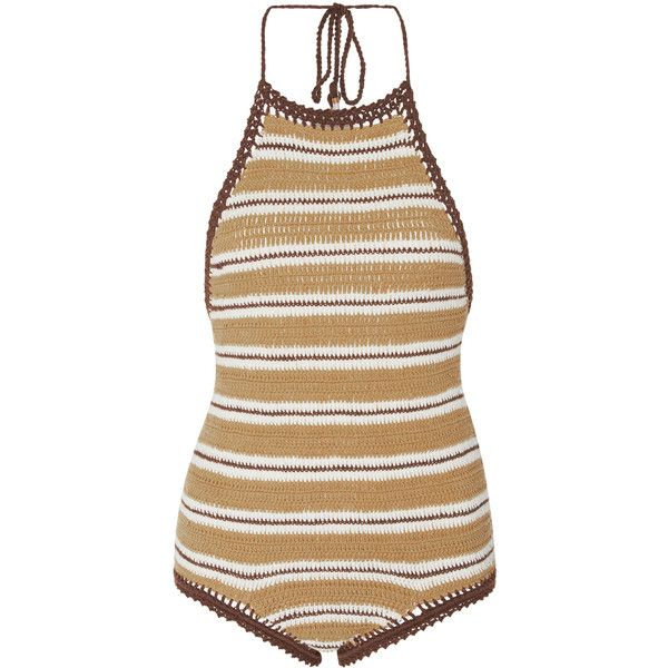 She Made Me     Zahrah Crochet Swimsuit ($200) ❤ liked on Polyvore featuring swimwear, one-piece swimsuits, swimsuits, stripe, one piece swimsuit, crochet halter top, one-piece swimwear, striped one piece swimsuit and halter swimsuits