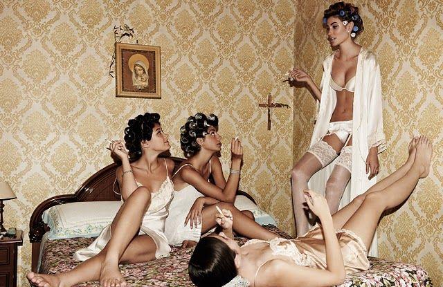 bride and bridesmaids (Italian Vogue shot by David Burton)