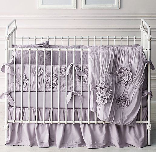 washed appliquéd fleur & vintage-washed percale nursery bedding collection - 5 color options (white, pink, lilac, grey, and blue)