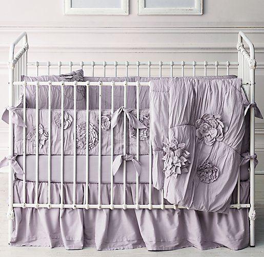 Washed Liquéd Fleur Vintage Percale Nursery Bedding Collection 5 Color Options