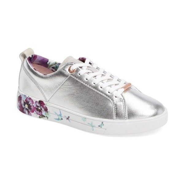 Women's Ted Baker London Barrica Sneaker (€135) ❤ liked on Polyvore featuring shoes, sneakers, matte silver leather, flower sneakers, polish shoes, low profile shoes, low profile sneakers and flower shoes