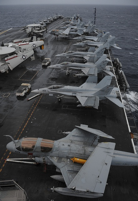 INDIAN OCEAN (June 6, 2013) Aircraft assigned to Carrier Air Wing 11 are lined up on the flight deck of the aircraft carrier USS Nimitz (CVN 68). Nimitz Strike Group is deployed to the U.S. 7th Fleet area of responsibility conducting maritime security operations and theater security cooperation efforts. (U.S. Navy Photo by Mass Communication Specialist 3rd Class Chris Bartlett/Released)
