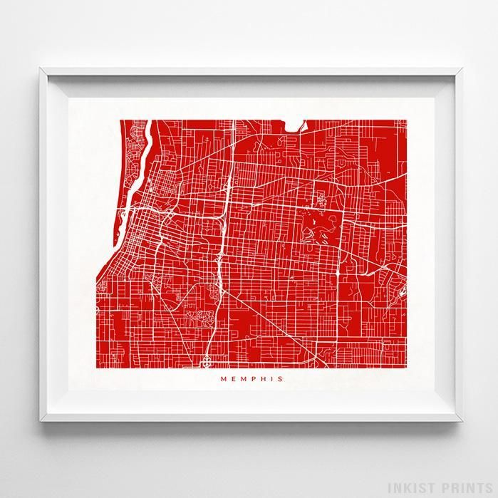 Memphis Tennessee Street Map Wall Decor Poster. 70 Color Options. Prices from $9.95. Available at InkistPrints.com - #streetmap#map #homedecor #walldecor #Memphis #Tennessee