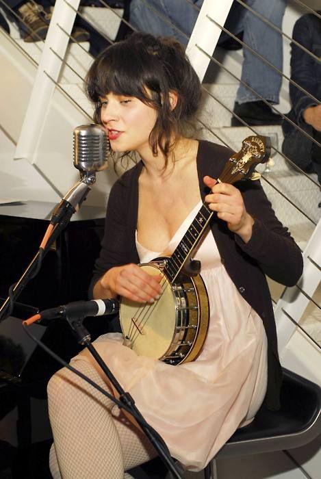 Zooey Deschanel playing a beautiful banjolele.   Guit ...