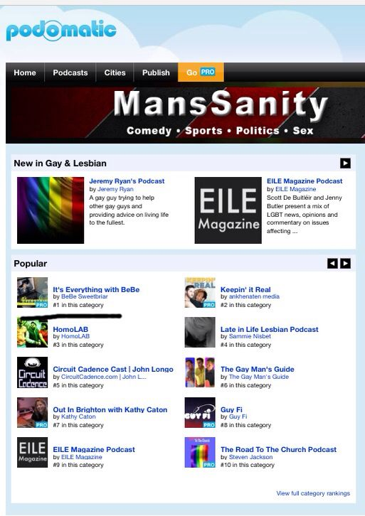 We are #1 GAY&LESBIAN podcast show on PodOmatic. Yay
