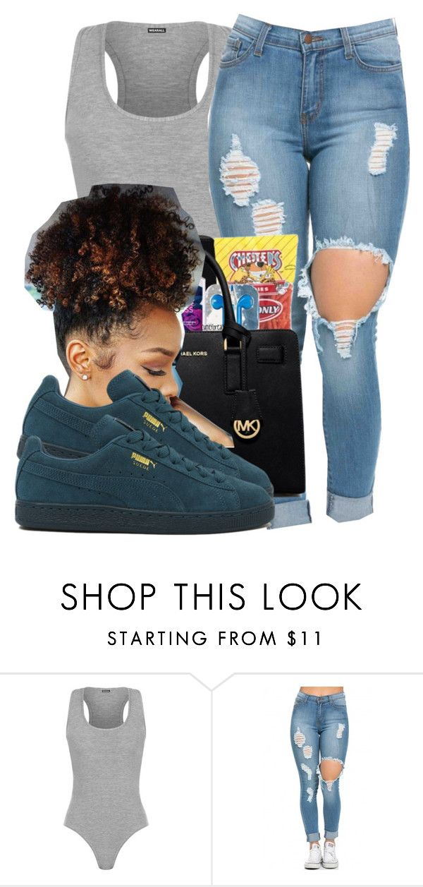 """BAD DAY SLAY"" by thatbishqueri ❤ liked on Polyvore featuring WearAll and Puma"