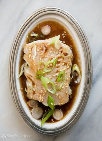 Pan Simmered Pacific Black Cod ~ Pacific black cod (sable fish) cooked in a broth of sake, rice vinegar, soy sauce and oil ~ SimplyRecipes.com