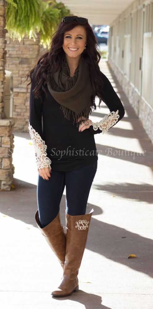 Black Crochet Sleeve Top / Southern Sophisticate Boutique
