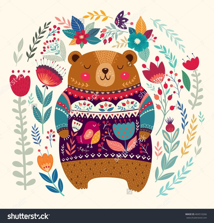 Vector pattern with adorable bear, flowers and leaves. Lovely beautiful card with cute bear. Hello card