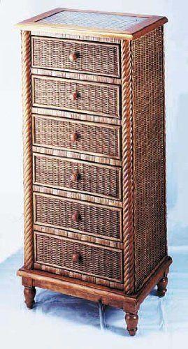 "Fran's Wicker Furniture Vienna Lingerie Chest by Fran's Wicker and Rattan. $561.00. Vienna Lingerie Chest. 24""W x 17""D x 52""H. Pecan Finish"