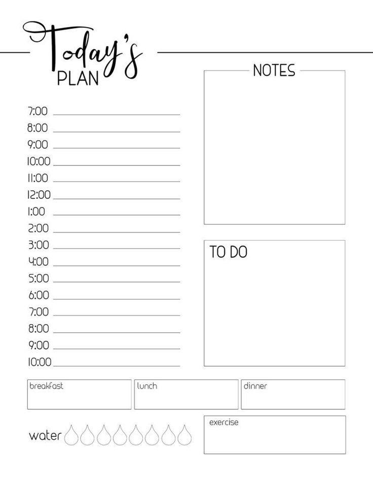 Free Printable Daily Planner Template Free Printable Daily Planner Template Day Tagesplan Vorlagen Druckbarer Wochenplaner Druckbare Planer