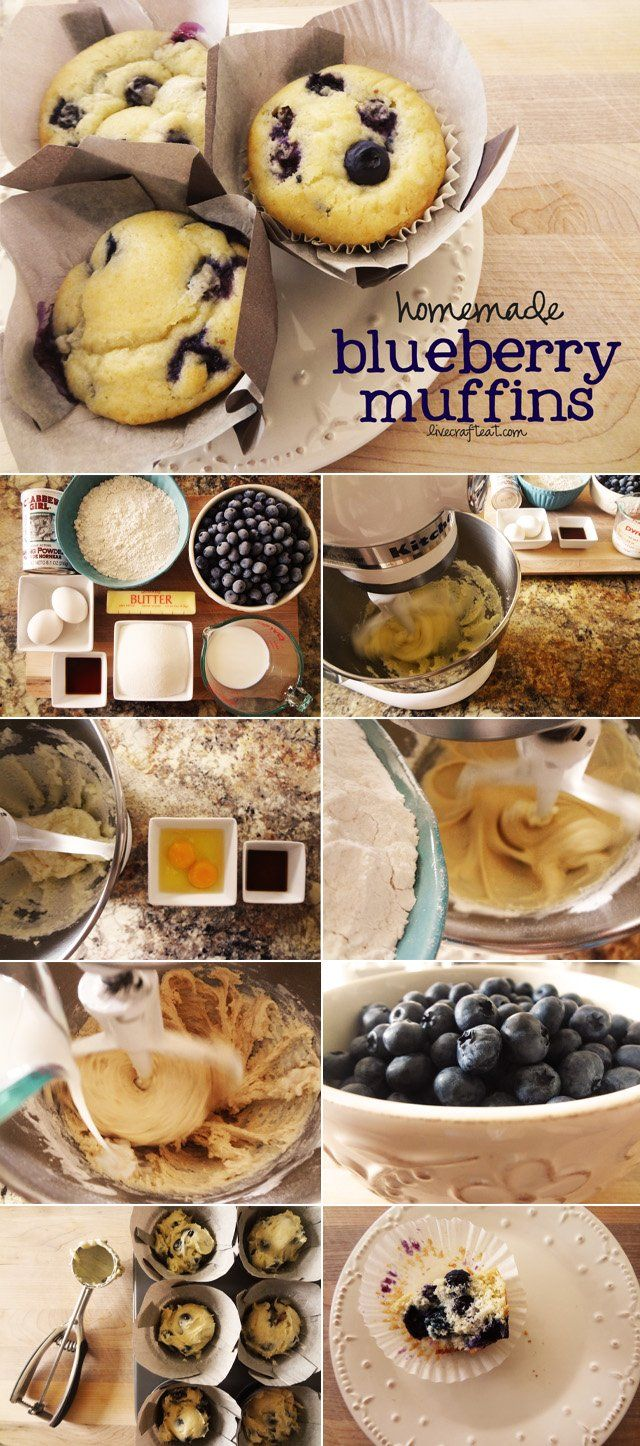 homemade blueberry muffin recipe - soft, moist muffin with delicious bursts of blueberries throughout. great for breakfast, middle-of the day treat, or a midnight snack. a really easy recipe using ingredients you already have in your pantry! we devour these!!   www.livecrafteat.com   #muffins #blueberries #recipes