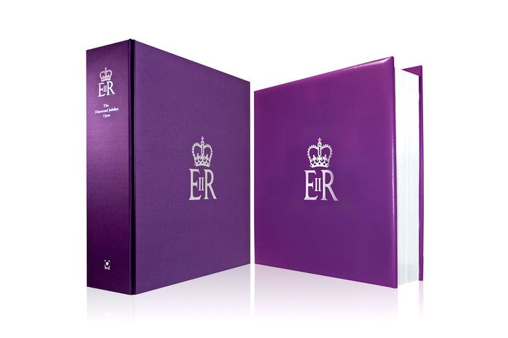 The book on the right and its protective case on the left, with the Royal Cypher foil stamped on the spine and the front. Design by Martin Sully. #design #book #presentation #case #luxury