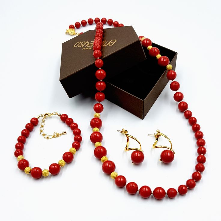 AUD $80.00 Red Coral Pearl Necklace Jewellery Set ~Perfect Jewellery Gift Idea~