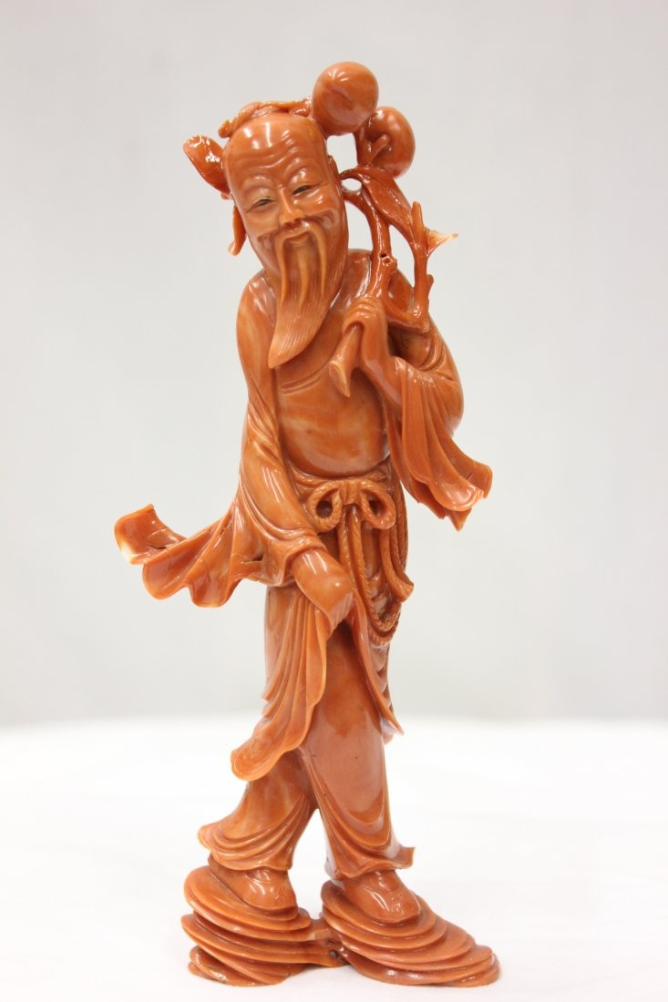 important Chinese coral carved god of longevity