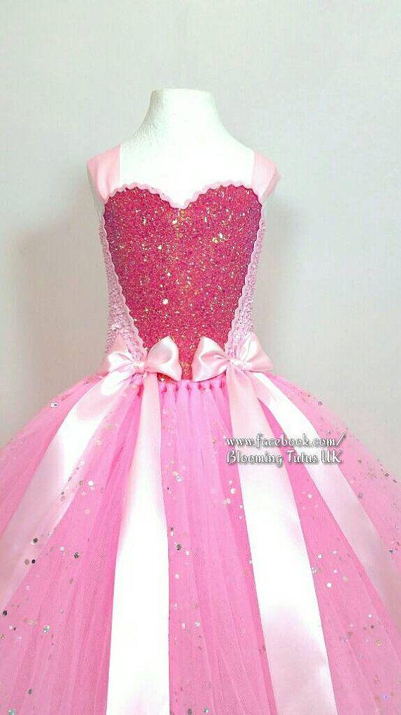 Roze Sparkly Tutu jurk prinses verjaardag door BloomingTutusUK