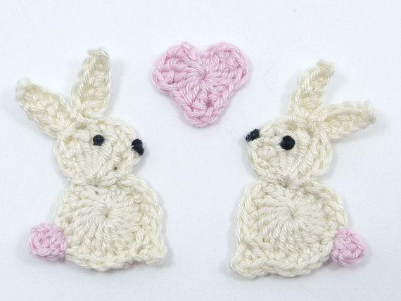 Crochet appliques Valentine appliques 2 small cream crochet
