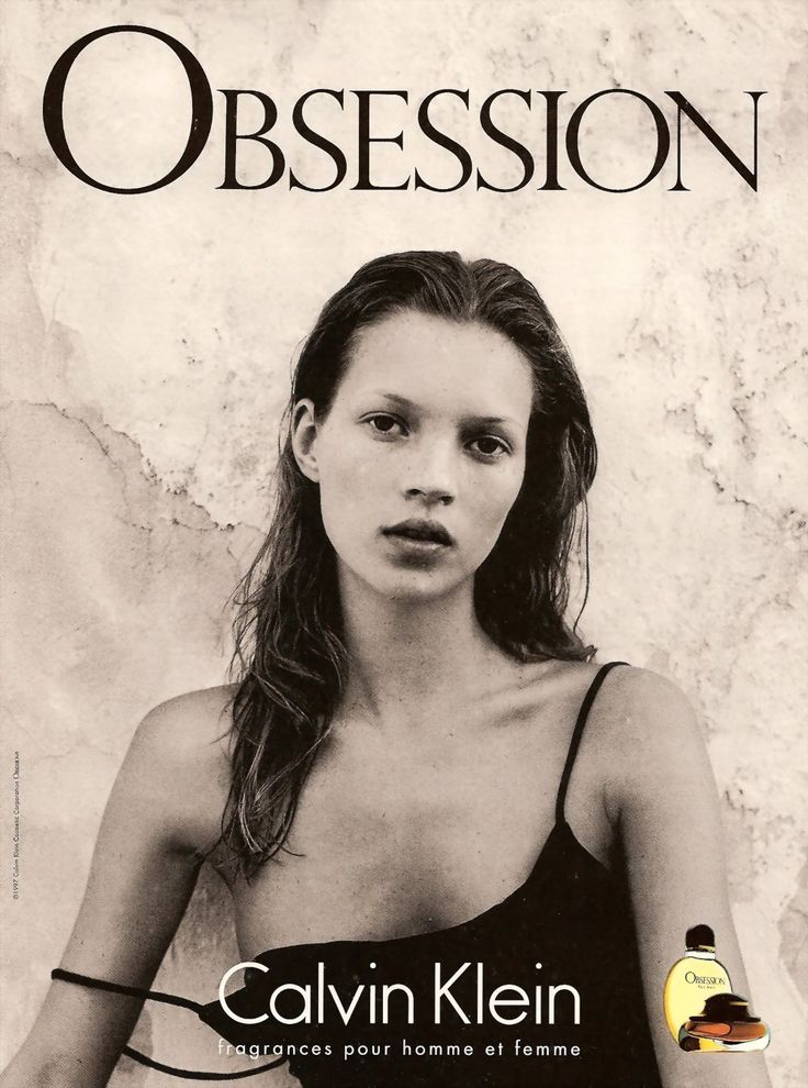 Kate Moss, the top model and fashion icon in 1990s, she look so sexy and wind in Calvin Klein's advertising campain.