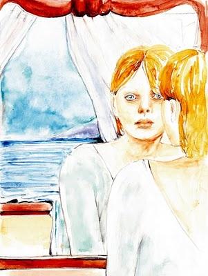 """""""Oltre lo specchio"""".    Dalla mia finestra guardo il mare. Una distesa piatta e azzurra, luccicante sotto al sole; se mi allontano dalla finestra della mia stanza sembra che il mare voglia entrare dentro, portandosi la sabbia, la salsedine, il suono metodico della risacca, tutto insieme come in un richiamo irresistibile, adagiato sopra questo vento di brezza dolce e fresca. Ieri invece era scirocco, e ha scosso a lungo la mia tenda.... (di Bruno Magnolfi - illustrazione di Giulia Tesoro)."""