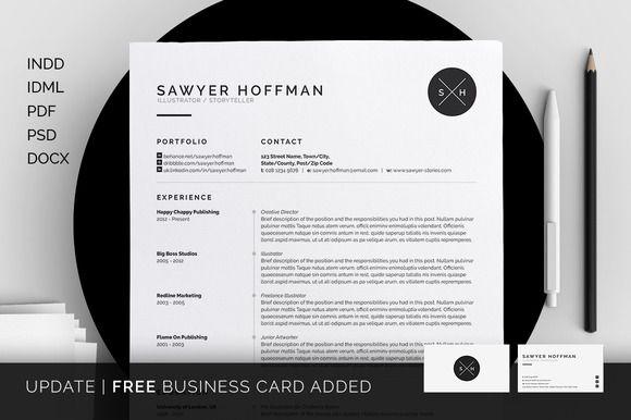 Resume/CV - Sawyer by bilmaw creative on Creative Market
