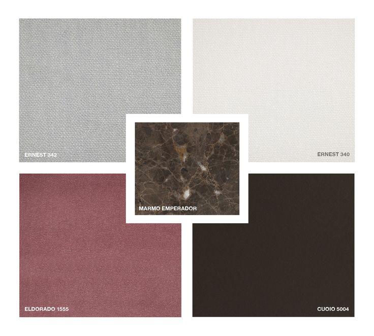 Marble: Emperador Hide Leather: Cuoio 5004 Fabrics: Ernest 342, 340 Velvet: Eldorado 1555