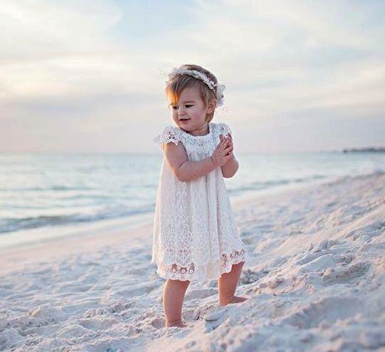 Off white Lace Flower Girl Dress,White Flower Girl Dress,White Lace Dress,Crochet lace dress,Girls Vintage Dress,Rustic Dress,Baptism Dress by MrsDazzle