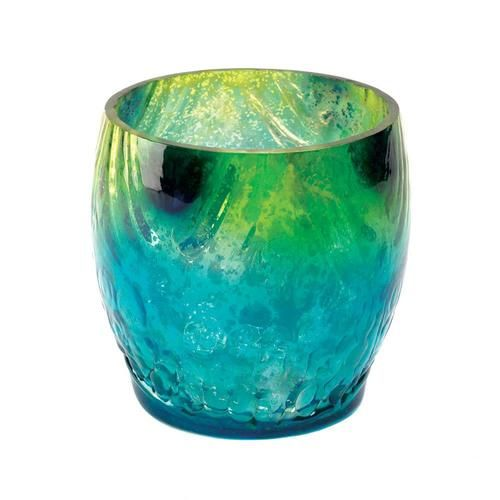 Make a splash in your living space with the iridescent shimmer and fabulous colors of this small candleholder. Place a candle inside for the ultimate in rich, sultry glow. Candle not included.