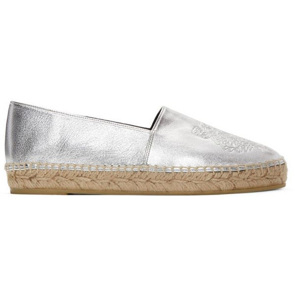 Kenzo Silver Leather Tiger Espadrilles (£210) ❤ liked on Polyvore featuring shoes, sandals, silver, silver espadrilles, kenzo espadrilles, metallic leather sandals, espadrille sandals and tan leather sandals