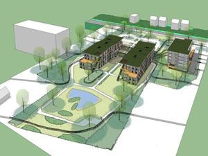 Landscape design for the surroundings of houses for psychogeriatric residents by Vollmer & Partners. (Vilente, Heelsum)