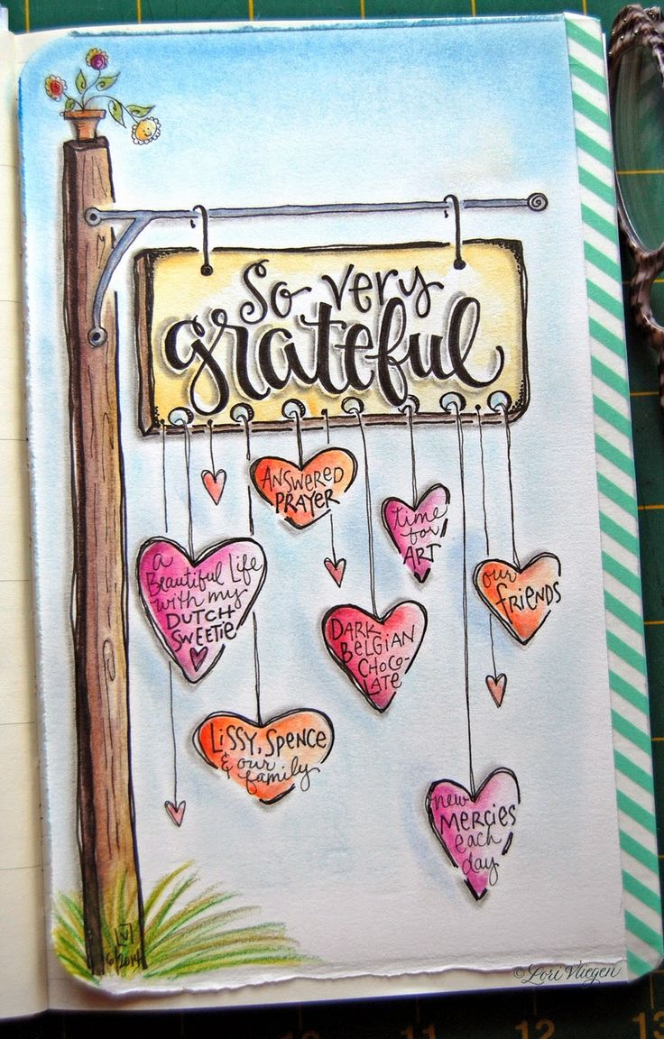 We should all hang a sign of what we are grateful for! ~Tirena Say ♥ The lettering, shading, water coloring... Message