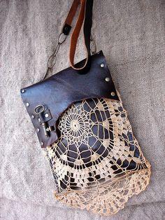 Leather Festival Bag w/Vintage Lace & Antique Key : Dreamcatcher by UrbanHeirlooms, via Flickr