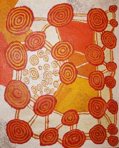 "Johnny Yungut Tjupurrula, ""The Soakage Site of Wanaritjarra,"" 2011,  acrylic on Belgian linen, 153 x 122 cm. Gallery Gabrielle Pizzi, Melbourne."