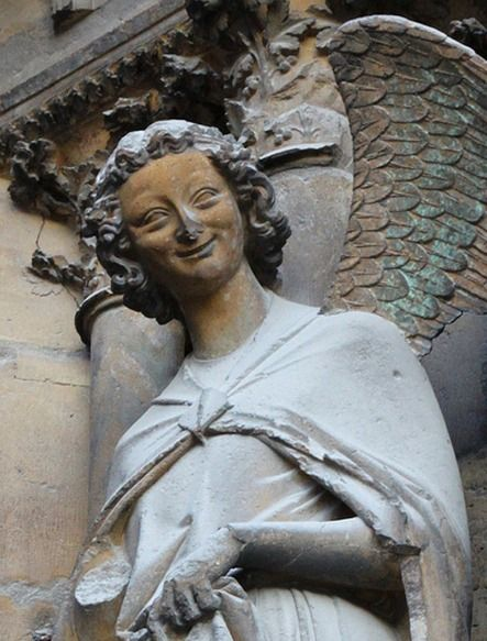 The smiling angel of Rheims Cathedral. It is the symbol of ...