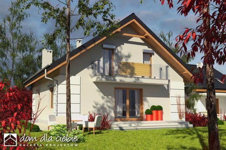 Nowinka III - optymalny projekt domu dla 4-5 osobowej rodziny. Tani w realizacji i ekonomiczny w eksploatacji. Zapraszam do zapoznania się z projektem.  Wizualizacja elewacji bocznej, ogrodowej.