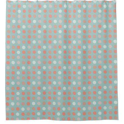 peach pink eggs on green shower curtain - shower curtains home decor custom idea personalize bathroom