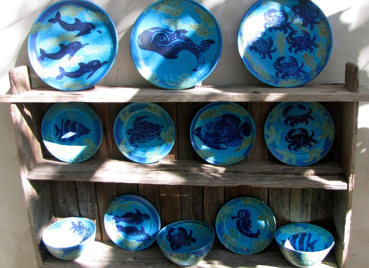 High-fired turquoise glaze dinner set. Cobalt marine design. | Michael Pugh Pottery. | Pinterest | Dinner sets and Pottery & High-fired turquoise glaze dinner set. Cobalt marine design ...
