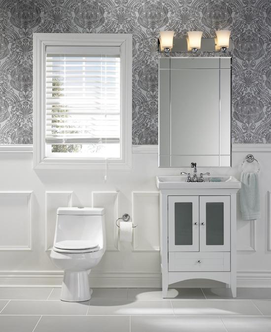 Small Vanity And Toilet Lights Above Vanity Window Blind Nice Look