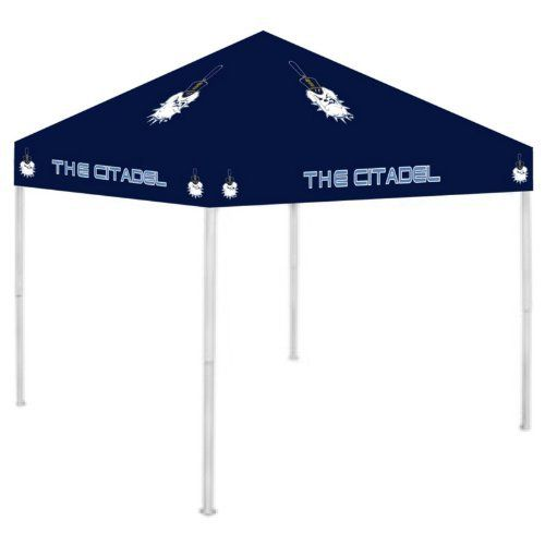 "NCAA Canopy NCAA Team: Citadel by Rivalry. $189.99. RV157-5000 NCAA Team: Citadel Features: -Canopy.-Easy to set up and to take down. Includes: -Includes a carry bag and ground stakes for extra stability. Color/Finish: -Officially licensed team colors and logos. Dimensions: -Dimensions: 6"" H x 9"" W x 9"" D. Collection: -NCAA collection."