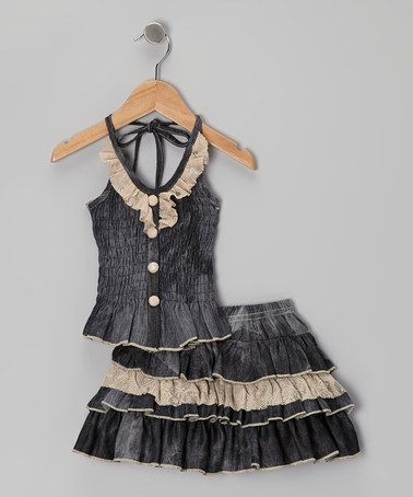 Take a look at this Dusty Rose Peplum Halter Top & Skirt - Toddler & Girls by Lele Vintage on #zulily today!