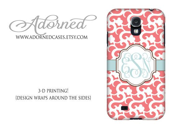Samsung Galaxy s4 case monogram, personalized Galaxy 4 cover, coral pink, tiffany blue, with your initials, plastic snap on or tough case