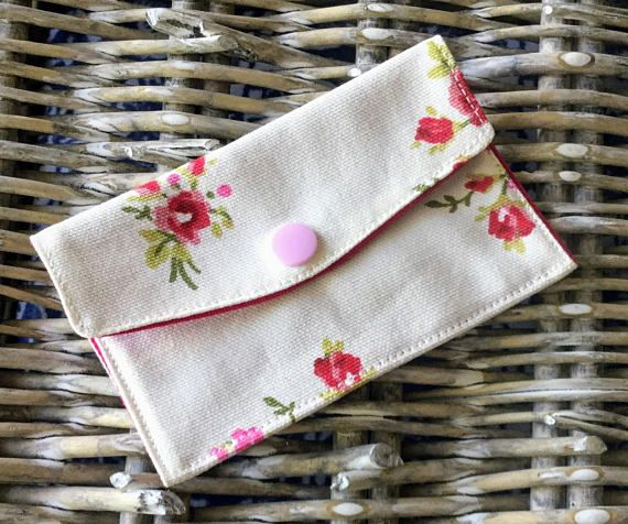 Pink and white floral card wallet, coin purse, credit card holder, cosmetic purse, small purse, wallet