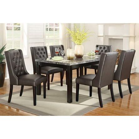 Amb Furniture 7 Pc Marleen Collection Dark Brown Finish Wood Marble Top Dining Table Set With Faux Leather Padded Seats