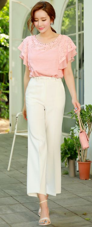 StyleOnme_Perfect Fit Wide Leg Pants #ivory #widepants #elegant #feminine #summerlook #koreanfashion #kstyle #kfashion #seoul