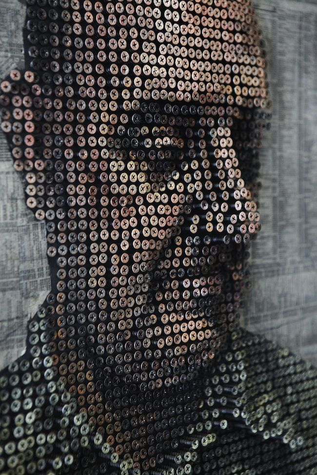 "Laguna Beach, California-based artist Andrew Myers used thousands of screws to make these incredible 3D portraits. As he drills in the screws, Myers doesn't rely on any computer software to guide him, he figures it out as he goes along. ""For me, I consider this a traditional sculpture and all my screws are at different depths,"" he says."