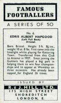 1939 R & J Hill Famous Footballers Series 1 #6 Eddie Hapgood Back