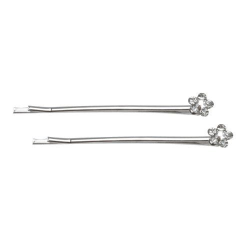 "Rhinestone Flower Top Silver Tone Bobby Pin (2 Pcs) by Dahlia. $6.45. Handmade bobby pin for girls and ladies of all ages. Base metal, rhinestone. Bobby pin / Rhinestone Flower. The bobby pin measures 0.2"" width on the top and 2.16"" length.. A pair of lovely rhinestone flower top bobby pin. To keep hair in place or use as an adornment it is suited for any season creating a lovely look. The bobby pin measures 0.2"" width on the top and 2.16"" length.. Save 50%!"