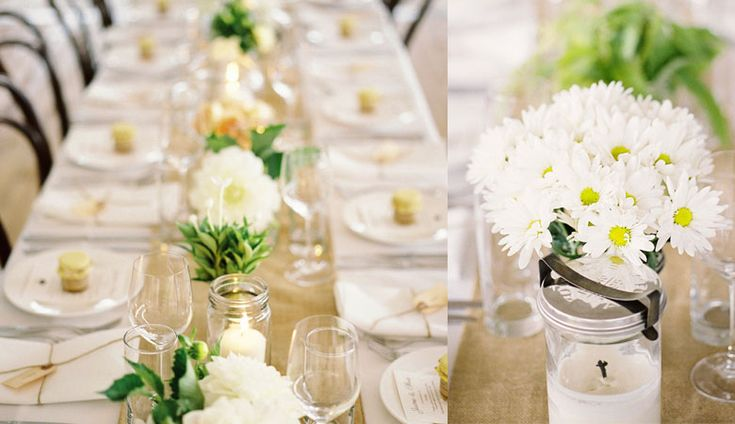 Crisp white linens, burlap runners and maison jars filled with country garden flowers and candles